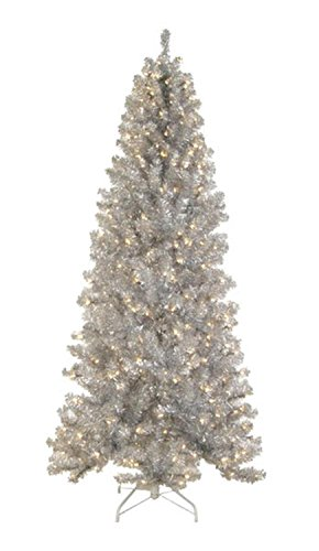 Allstate Pre-Lit Silver Tinsel Noble Pine Artificial Christmas Tree with Clear Lights, 7.5' -