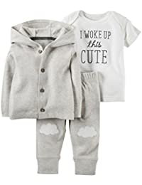 Carter's Baby Boys' 3 Piece Cardigan Set I Woke Up This Cute, NB
