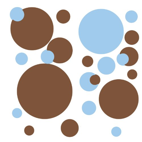 [RoomMates RMK1246SCS Just Dots Blue and Brown Peel & Stick Wall Decals] (Sports Day Costume Ideas Blue)