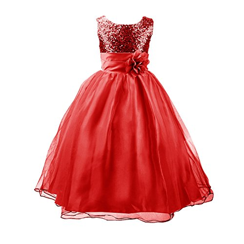 Acecharming Little Girls' Sequin Mesh Flower Ball Gown Party Wedding Tulle Ruffle Dress, Suitable for8-9 Years(Red) -