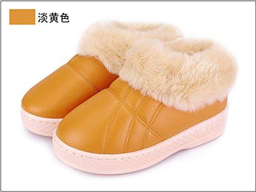 CWAIXXZZ pantoufles en peluche Chaussons en coton paquet femelle avec ses chaussures sur lépais, antidérapants cute cartoon des couples hommes coton rdp ,36-37 (pour un 34-35, jaune clair (2815)