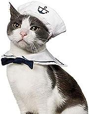 NAMSAN Pet Costume for Holiday Cat Dog Halloween Christmas Hat Outfit-Sailor Costume, Lion Mane, Wizard Hat, Leprechaun Hat, Xmas Set