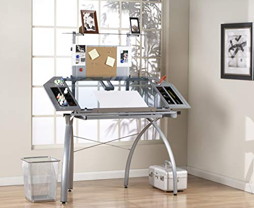 Glass Studio - Studio Designs 10057 Futura Tower, Silver/Blue Glass
