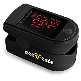 Acc U Rate Pro Series CMS 500DL Fingertip Pulse Oximeter Blood Oxygen Saturation Monitor with silicon cover, batteries and lanyard (Mystic Black)