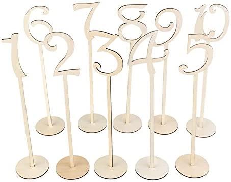 Da.Wa Número de Asiento Signo de Madera de Mesa Decoración de Fiesta Cumpleaños Boda Aniversario - (Número1-10)