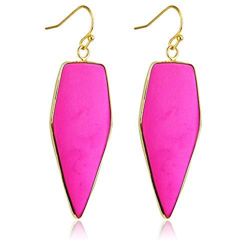 Stone Crystal Dangle Drop Earrings Teardrop/Oval Stylish Jewelry for Women Ladies Girls (Rose Turquoise(Sword))