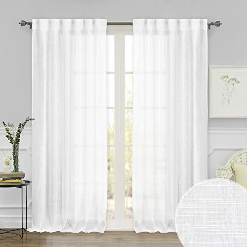 RYB HOME White Sheer Curtains with Linen Texture, Bathroom Privacy Drapes Light & Airy Privacy Sheer Panels for Bedroom/Living Room/Patio Door, 52 inch Width by 95 inch Length, Set of 2 For Sale