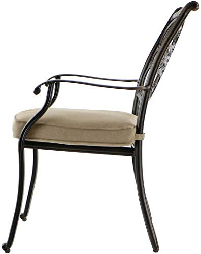 """Hanover TRADITIONS7PCSW, 4 Stationary, 2 Swivel Rocker Chairs, and 38""""x72"""" R Traditions 7-Piece Cast Aluminum Outdoor Patio Dining Set, Bronze Frame, Tan - Durable, weather-resistant set has 4 deep-cushioned dining chairs, 2 deep-cushioned swivel-rockers with 360-degree spin. Blended extruded-aluminum and decorative-cast components with hand-applied multiple-coat finish remains rust-free for the lifetime of the furniture Deep seat cushions for optimum comfort are quick-drying, stain-resistant, UV protected and maintain their original shape - patio-furniture, dining-sets-patio-funiture, patio - 41kWGh9zgQL -"""