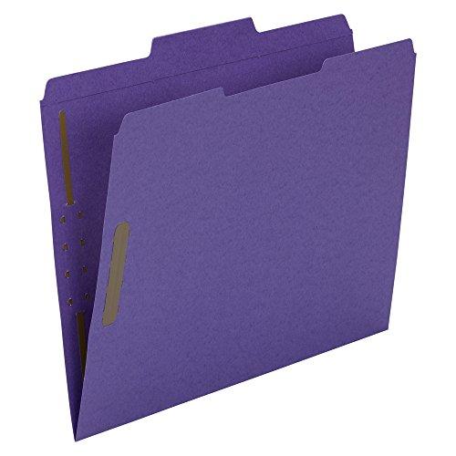 Smead Fastener File Folder, 2 Fasteners, Reinforced 1/3-Cut Tab, Letter Size, Purple, 50 per Box (13040) ()