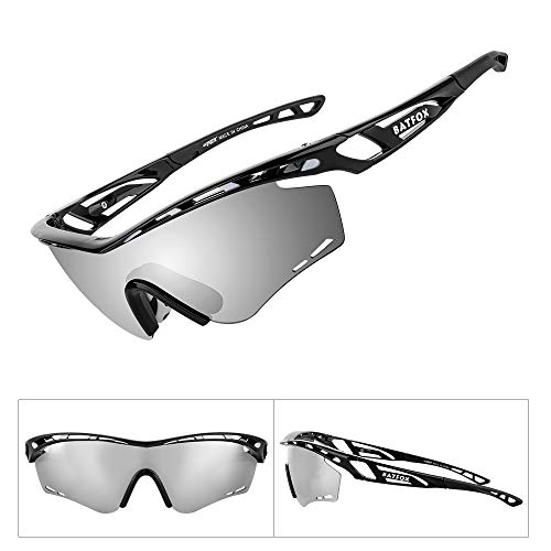 2e005c46ffee BATFOX Polarized Sports Sunglasses Memory Metal Glasses Leg for Men Women  Cycling Running Driving Fishing Golf