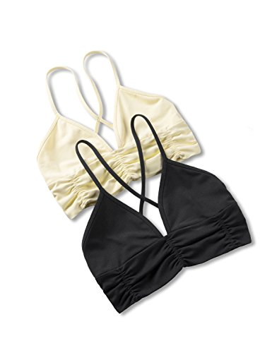 Yoga Womens Bras (CRZ YOGA Women's 2 Pack Light Support Comfort Wireless Plunge Bra Strappy Bralette Black/Light Yellow L)