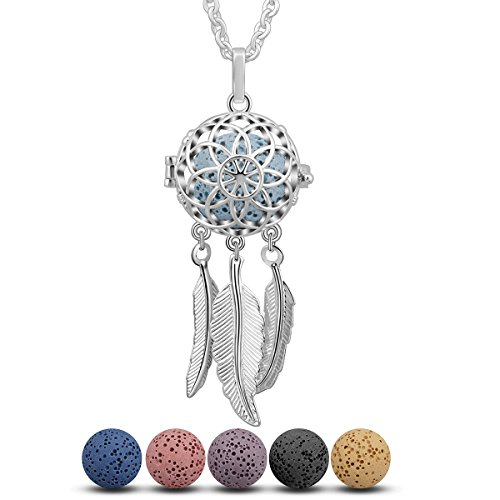 INFUSEU Dream Catcher Essential Oil Diffuser Necklace Lava Rock Stone Aromatherapy Lotus Mandala Flower Filigree Locket Jewelry Set, 5 Lava - Jewelry Catcher