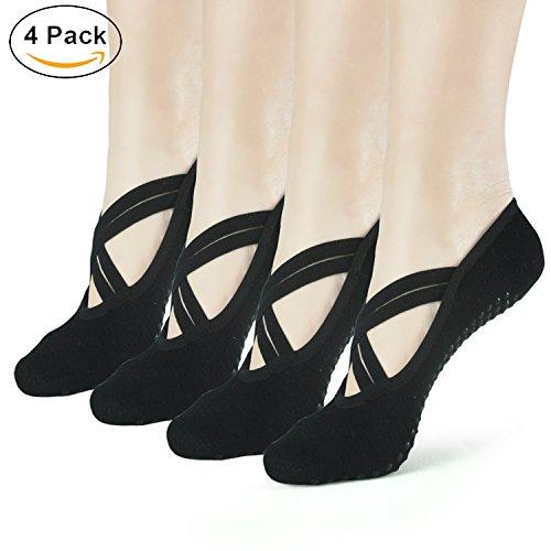 Elutong Yoga Socks Anti Skid Women Socks 4 Pack Ballet Barre Pilates Dance Fitness Socks(5-9) by Elutong