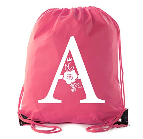 Monogrammed Backpack Custom Initial Drawstring Backpacks Personalized Cinch Sack - Pink CA2500MON S1]()
