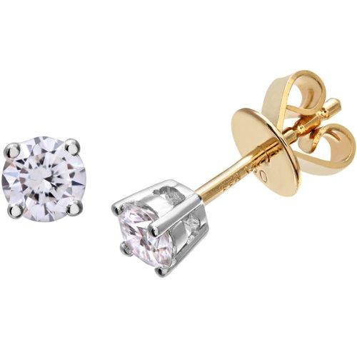 Revoni Bague en Diamant-Boucles d'Oreilles Clous en Or Jaune 18Carats Diamant rond brillant certifié H/SI Boucles d'oreilles, 0,33carats Poids du Diamant