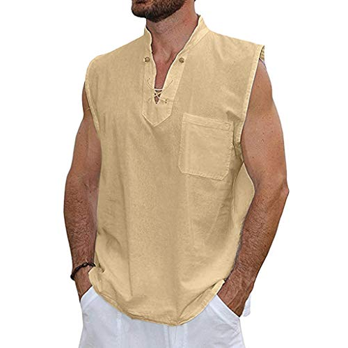 YQZB Men's T Shirts,Casual Slim Fit Button Shirt with Pocket Short Sleeve Tops Blouse Khaki