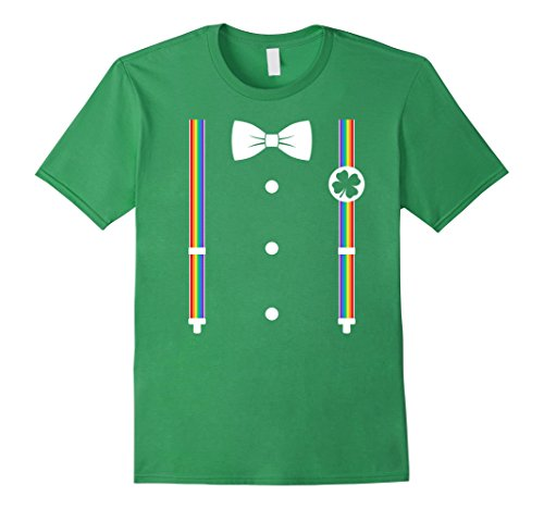 Men's Rainbow Suspenders Bow Tie Leprechaun Costume T-shi...