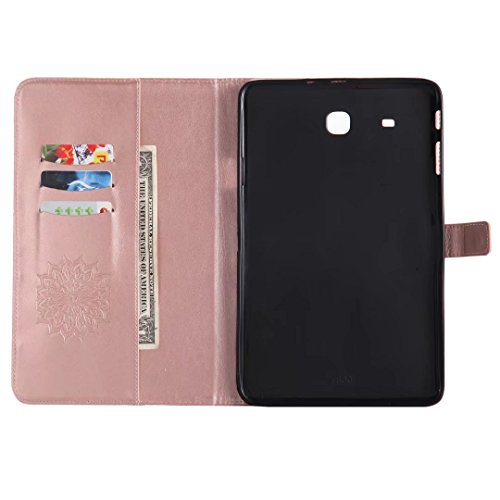 Bumper Tap Case Samsung Stand 9 Tap TPU E Soft Flip Cover 6 T560 Protective For with Case PU Ougger Galaxy E inch for T561 Leather Rose Gold Premium Inner Purple 9 Wallet Samsung 6