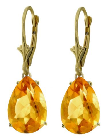 14k Yellow Gold Leverback Earrings with Natural Citrines