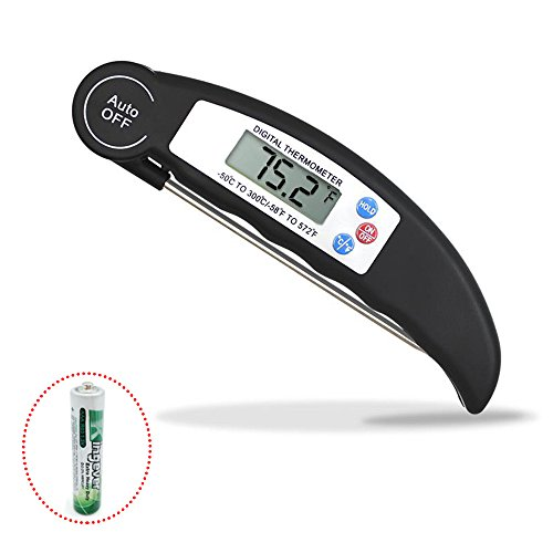 Digital Food Cooking Thermometer Instant Read Meat Thermometer with Super Long Probe for Kitchen Cooking BBQ Grill Smoker Meat Fry Food Milk Yoghourt,Baking, Water (Black)