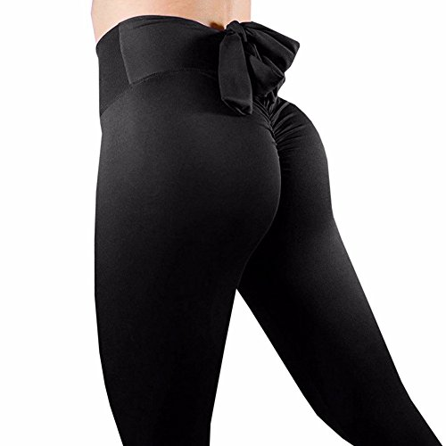 High Stretch Trousers Waist (COLO Women Butt Lift Bow-Tie Yoga Pants Sport Pants Workout Leggings Sexy High Waist Trousers Black(L))