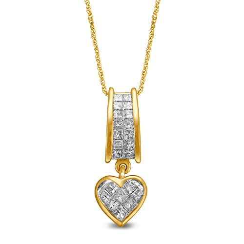 Diamond Princess Cut Pendant - Diamond Jewel 14 Yellow Gold 1 CT Princess Cut Diamond Heart Pendant/Necklace