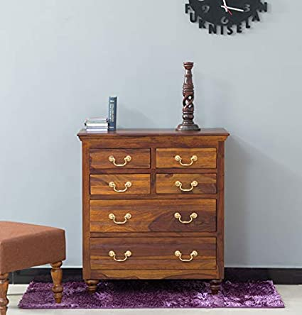 Calgary Solid Wood Chest Of Drawer In Kapasi Brown Finish By Furniselan