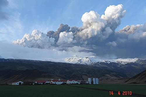 Volcanic Eruption South of Iceland in glacier Eyjafjallajokull and Fimmvorduhals. Air traffic has been subject to cancellation or delay as airspace across parts of Northern Europe has been closed. 30x40 photo reprint by PickYourImage