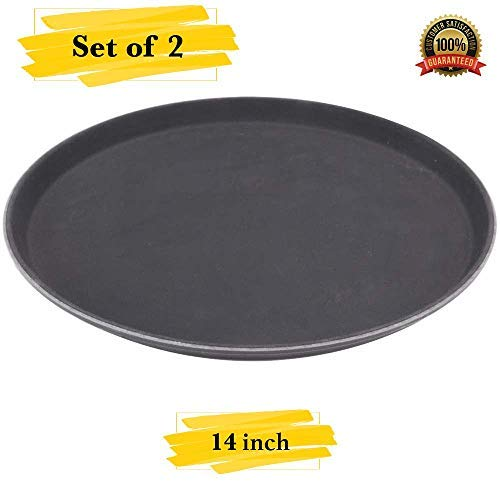 MM Foodservice Set of 2 Non-Slip Serving Tray, Round Non-skid Tray, Professional 14 inch heavy duty serving tray, Black (Non Skid Round Serving Tray)