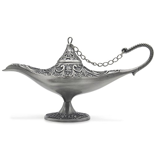 AVESON Classic Vintage Collectable Rare Legend Magic Genie Light Costume Lamp Home Table Decoration & Gift, Large, Tin color]()
