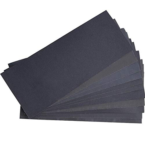 Lvcky Abrasive Dry Wet Waterproof Sandpaper Sheets Assorted Grit of 400/600/ 800/1000/ 1200/1500 for Furniture, Hobbies and Home Improvement (12 Sheets) -