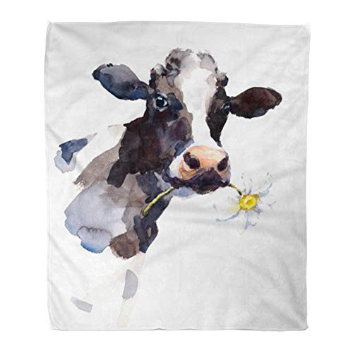 Emvency Throw Blanket Warm Cozy Print Flannel Watercolor Cow Daisy Flower in Its Mouth Farm Animal Portrait Hand Comfortable Soft for Bed Sofa and Couch 50x60 Inches