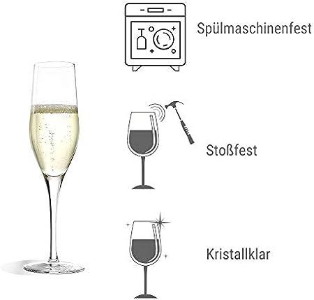 Copas para vino espumoso Exquisit de Stölzle Lausitz, de 175 ml, juego de 6, aptas para lavavajillas: Un distinguido juego de copas para espumosos, en cristal acabado