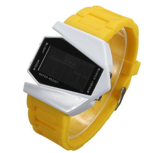 Plane Style Digital Display LED Silicone Wrist Watch (Yellow)