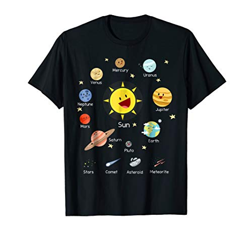 Solar System with Sun, Planets, Comets and Earth T Shirt (The Planet Earth And The Solar System)