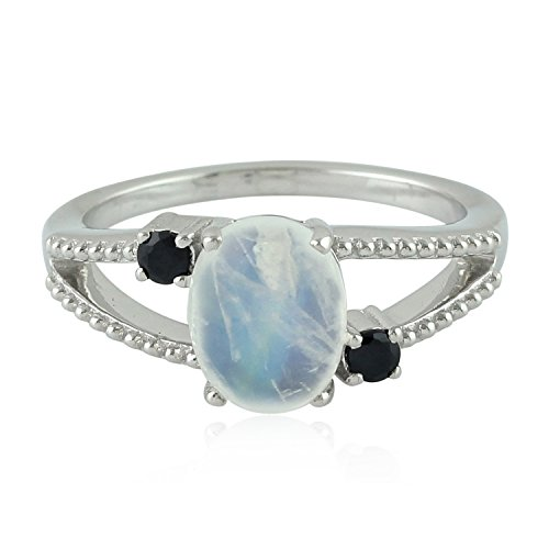- 925 Sterling Silver Natural Moonstone and Black Spinel Designer 3 Stone Ring for Women