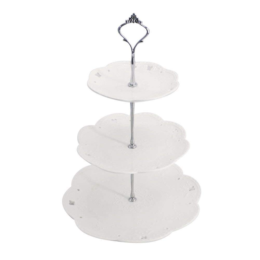 3 Tiers Round Porcelain Cake Stands – Fruit Candy Biscuit Dessert Stand - Birthday Wedding Tea Party - 6 8 10 Plates Included - Dracarys