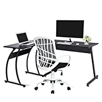 GreenForest L-Shape Corner Computer Office Desk PC Laptop Table Workstation Home Office 3-Piece,Black from Greenworlds
