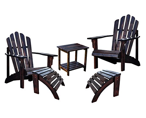 Shine Westport Adirondack Chairs With Two Ottoman and a Rectangular Side Table Bundle in Burnt ()