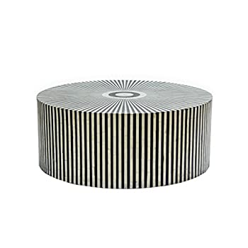 STRIPED BONE INLAY ROUND COFFEE TABLE