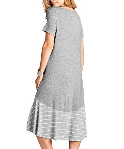 Chvity Summer Hi Low Women's Gray Hem Ruffles T Midi Dresses Dress Shirt Pockets w1rwxIXPq