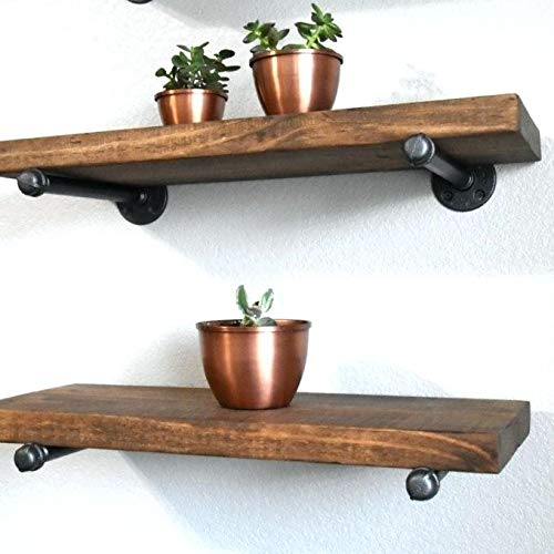 Industrial Floating Shelves Wall Shelf - Floating Shelves Wood Wall Mounted, Hanging Shelves, Floating Shelves Rustic, with Pipe Hardware Brackets (Set of 2) 2'' X 7.5'' (Espresso, 36'') (Component Wood)