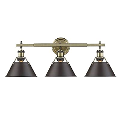 Golden Lighting 3306-BA3 AB-RBZ Orwell - Three Light Bath Vanity, Aged Brass Finish with Rubbed Bronze Shade