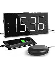 Super Loud Alarm Clock for Bedroom Digital Clock for Heavy Sleeper Vibraning Alarm Clock Strong Bed Shaker,Battery Backup,Large LED Display,5 Dimmer, Snooze,USB