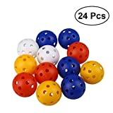 TOYMYTOY 24pcs Perforated Plastic Toy Golf Balls Hollow Golf Practice Training Sports Balls (Mixed Colors)