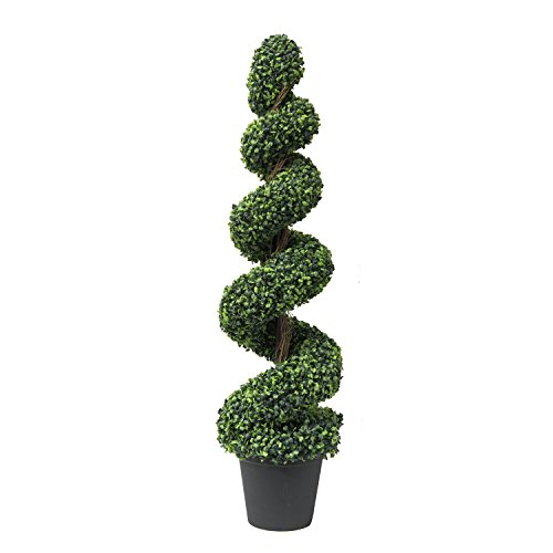 icial Spiral Topiary Trees – Decorative Fake Greenery in Planter Pots for Front Porch, Outdoor Walkway, Entryway Decorating, Set of 1 (Outdoor Spiral Topiary)