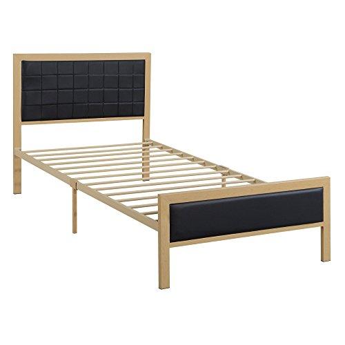 Urbane Wooden Twin Bed In PU, Black