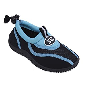 New Sunville Brand Toddler's Blue & Black Athletic Water Shoes Aqua Socks Size 8