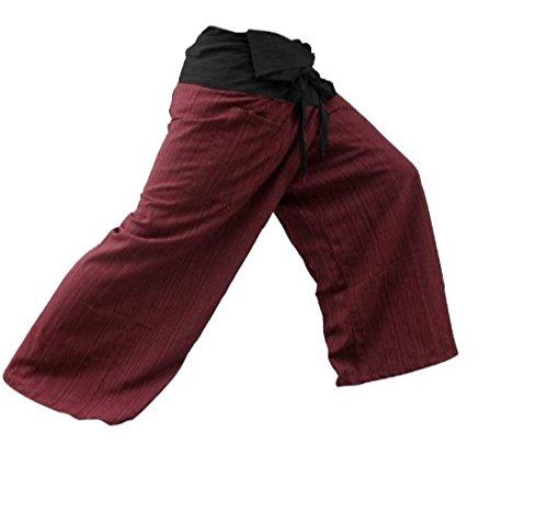 LannaPremium Authentic 100% Cotton Drill Gangaeng 2 Tone Thai Fisherman Pants Yoga Trousers, Burgundy/Charcoal, One Size, 2X-Large, Red