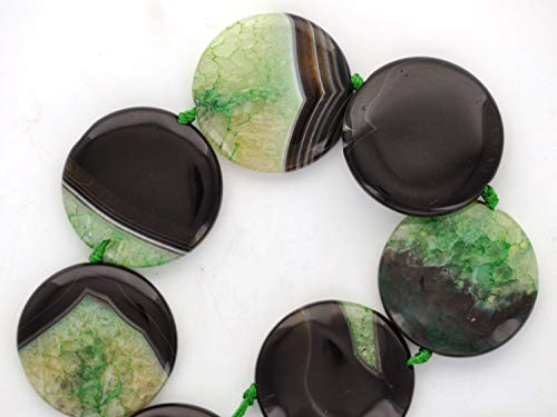 ShopForAllYou Design Making 1 Puffed Coin Disc Green and Black Agate Focal Bead 34mm, 1-3/8